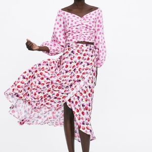 Zara Pink Flower Floral Wrap Skirt 4043 070 712